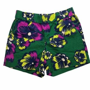 J Crew Floral Pull On Linen Shorts Green/Pink
